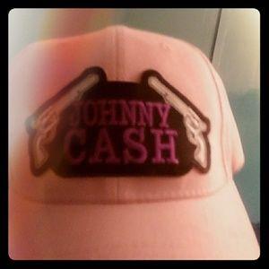 Pink Johnny Cash Adjustable Velcro Hat